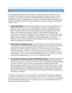Journalism Competition And Preservation Act Fact Sheet